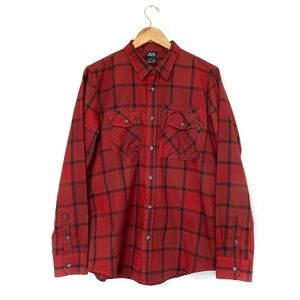 Oakley plaid red button up utility shirt pockets